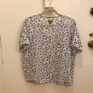 Vintage Esprit flower print blouse with pocket!